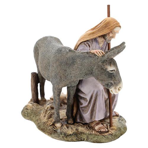 San Giuseppe con asino Moranduzzo per presepe di 15 cm 4