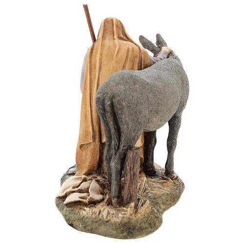 San Giuseppe con asino Moranduzzo per presepe di 15 cm 5