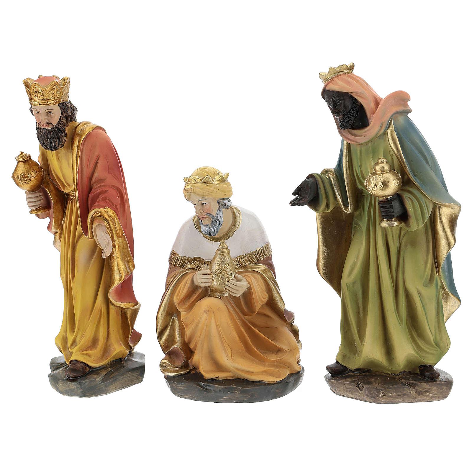 Set of 3 Wise Men in resin for Nativity scene of 15 cm 3