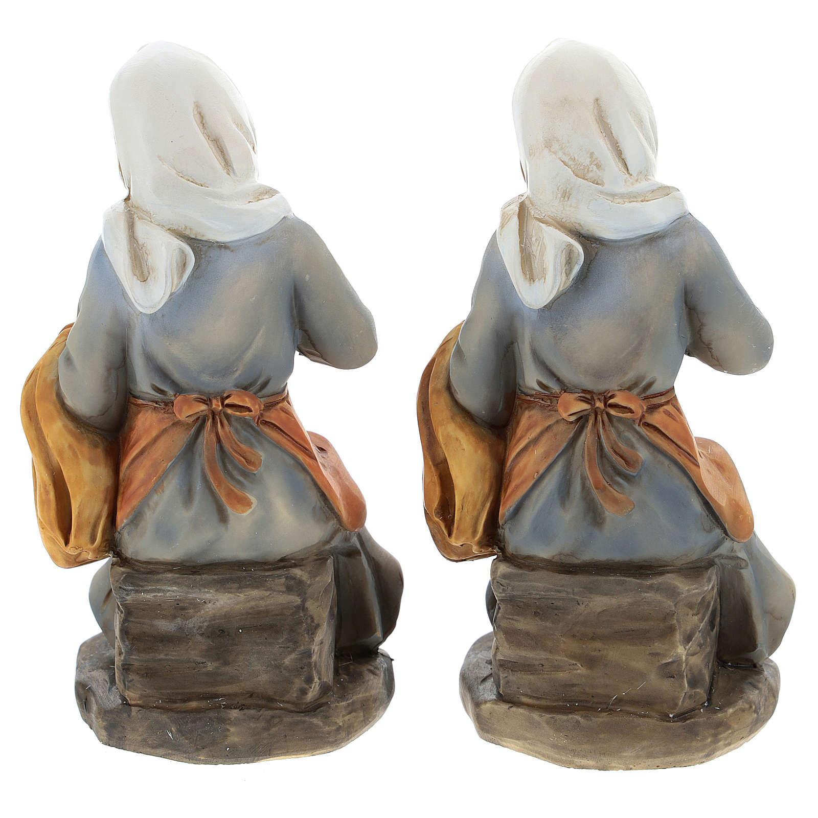 Set of 2 resin spinners for Nativity scenes of 15 cm 3