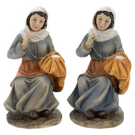 Set of 2 resin spinners for Nativity scenes of 15 cm s1