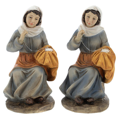 Set of 2 resin spinners for Nativity scenes of 15 cm 1