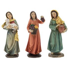 Resin shepherdesses for Nativity scenes of 15 cm 3 pieces s1