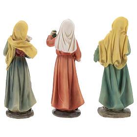 Resin shepherdesses for Nativity scenes of 15 cm 3 pieces s6