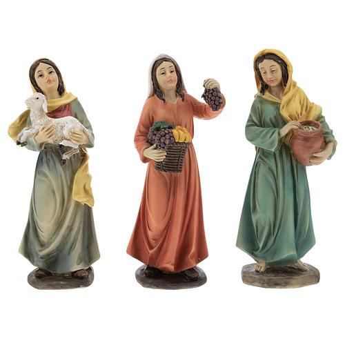 Resin shepherdesses for Nativity scenes of 15 cm 3 pieces 1