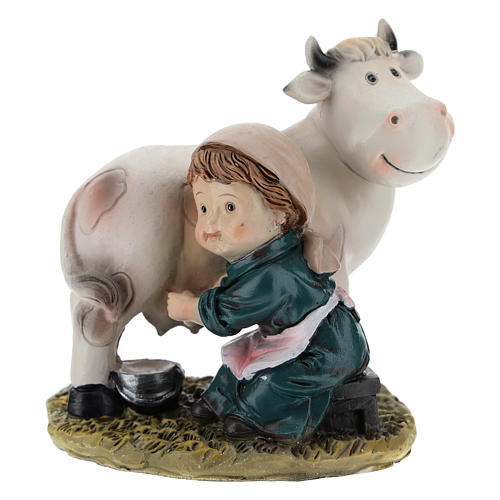 Milker in resin for modern Nativity scene of 9 cm 1