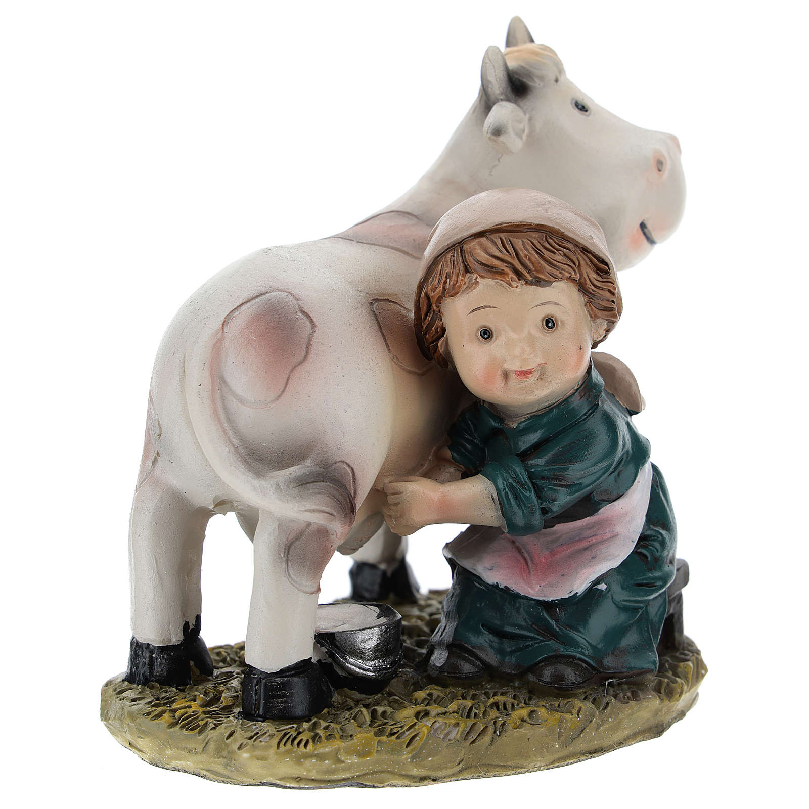 Milkmaid in resin, modern 9 cm nativity 3