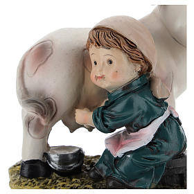 Milkmaid in resin, modern 9 cm nativity s2