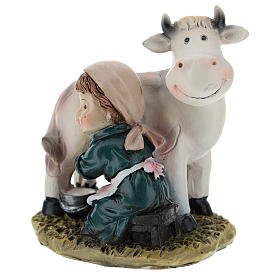 Milkmaid in resin, modern 9 cm nativity s3