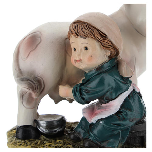 Milkmaid in resin, modern 9 cm nativity 2
