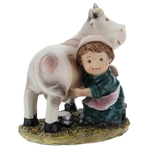 Milkmaid in resin, modern 9 cm nativity 4