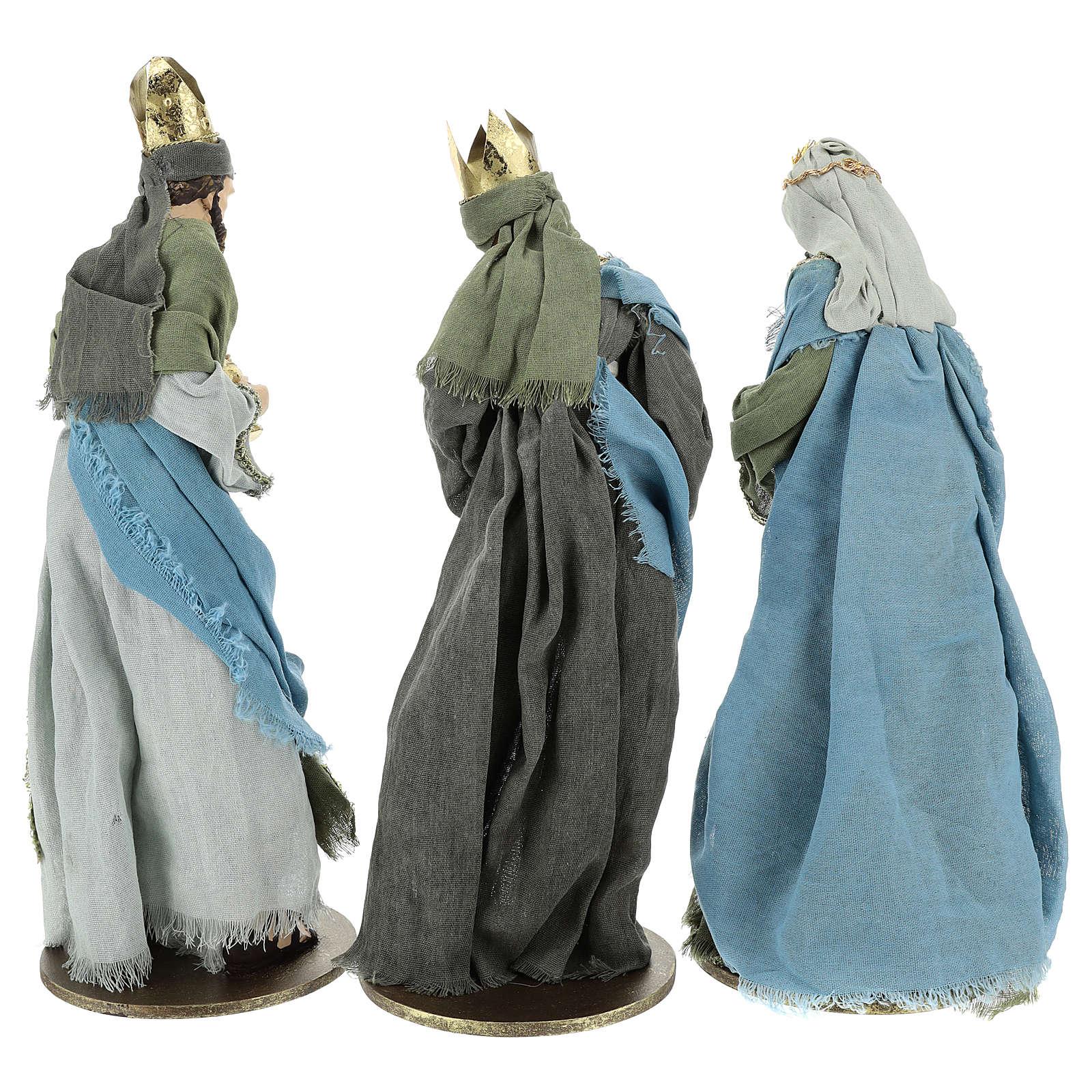 Drei Heilige Könige Harz und Stoff 40cm Shabby Chic grau grün 3