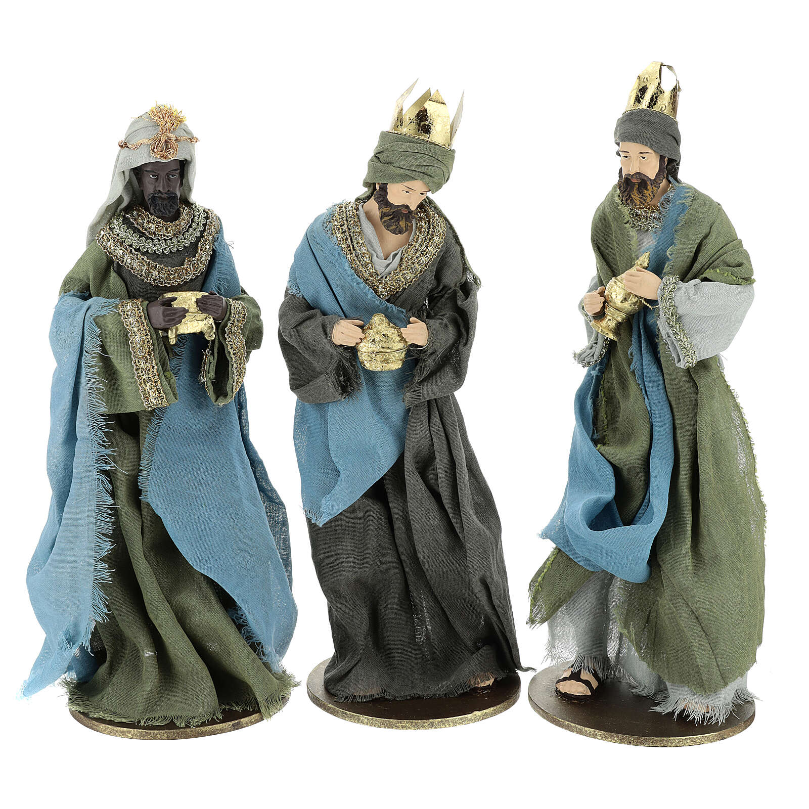 Three Wise Men in resin with green and grey clothes 40 cm 3