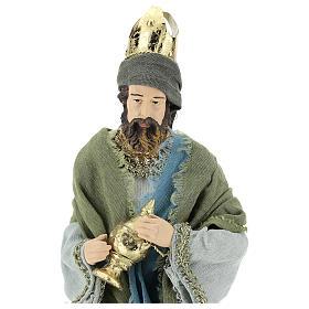 Reyes Magos 40 cm de resina con vestidos grisos y verdes s2