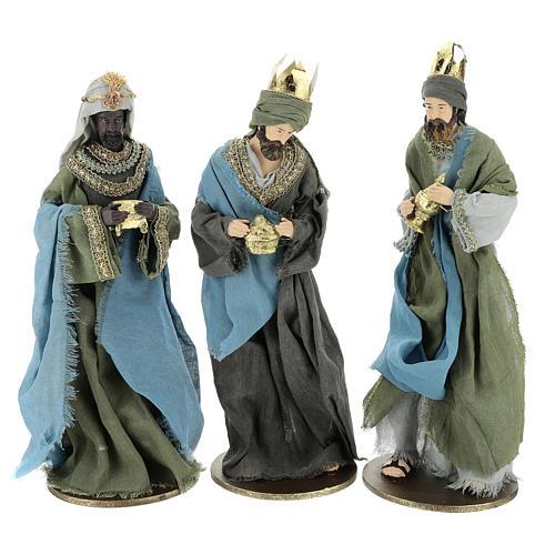 Reyes Magos 40 cm de resina con vestidos grisos y verdes 1