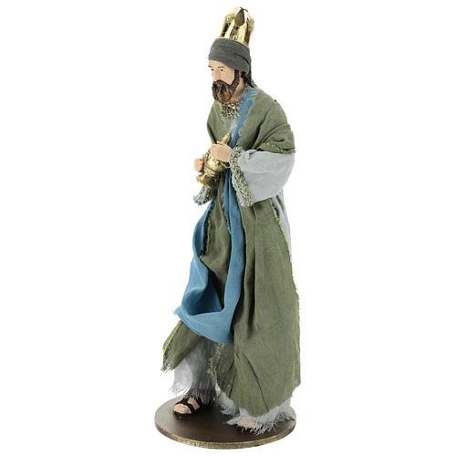 Reyes Magos 40 cm de resina con vestidos grisos y verdes 4