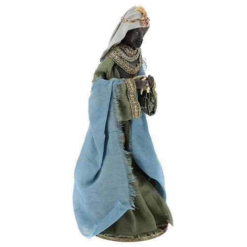 Reyes Magos 40 cm de resina con vestidos grisos y verdes 5