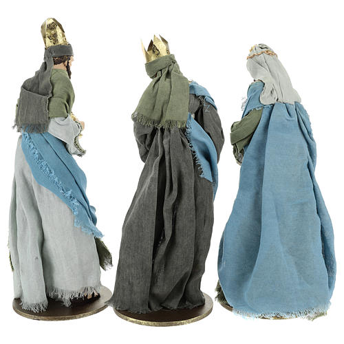 Reyes Magos 40 cm de resina con vestidos grisos y verdes 6