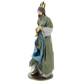 Three Kings set 40 cm in resin with grey and green clothing s4