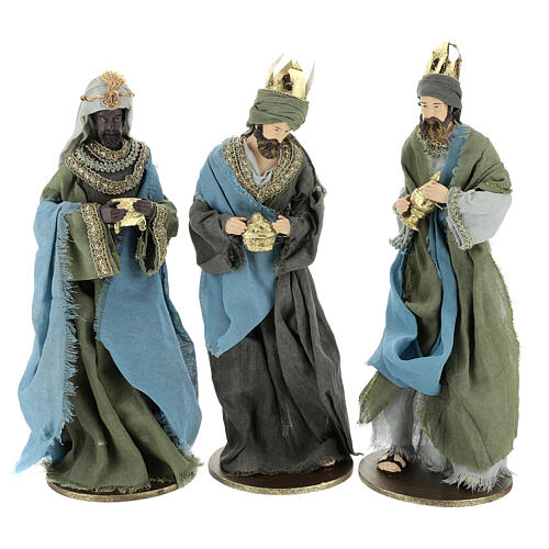 Three Kings set 40 cm in resin with grey and green clothing 1