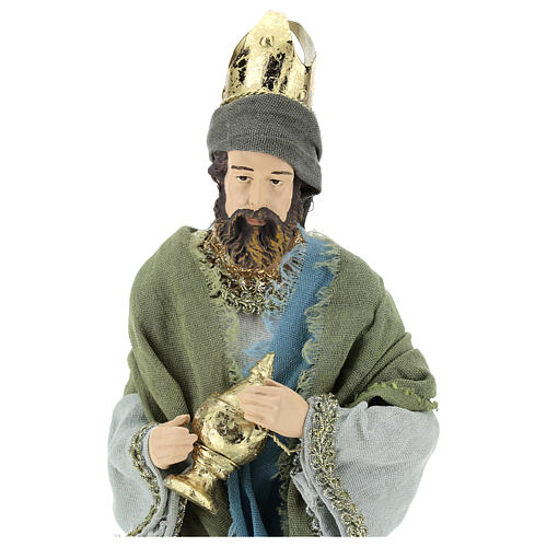 Three Kings set 40 cm in resin with grey and green clothing 2