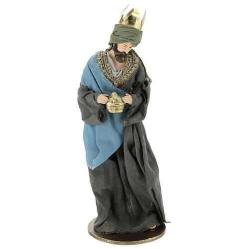 Three Kings set 40 cm in resin with grey and green clothing 3