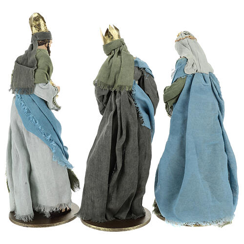 Three Kings set 40 cm in resin with grey and green clothing 6