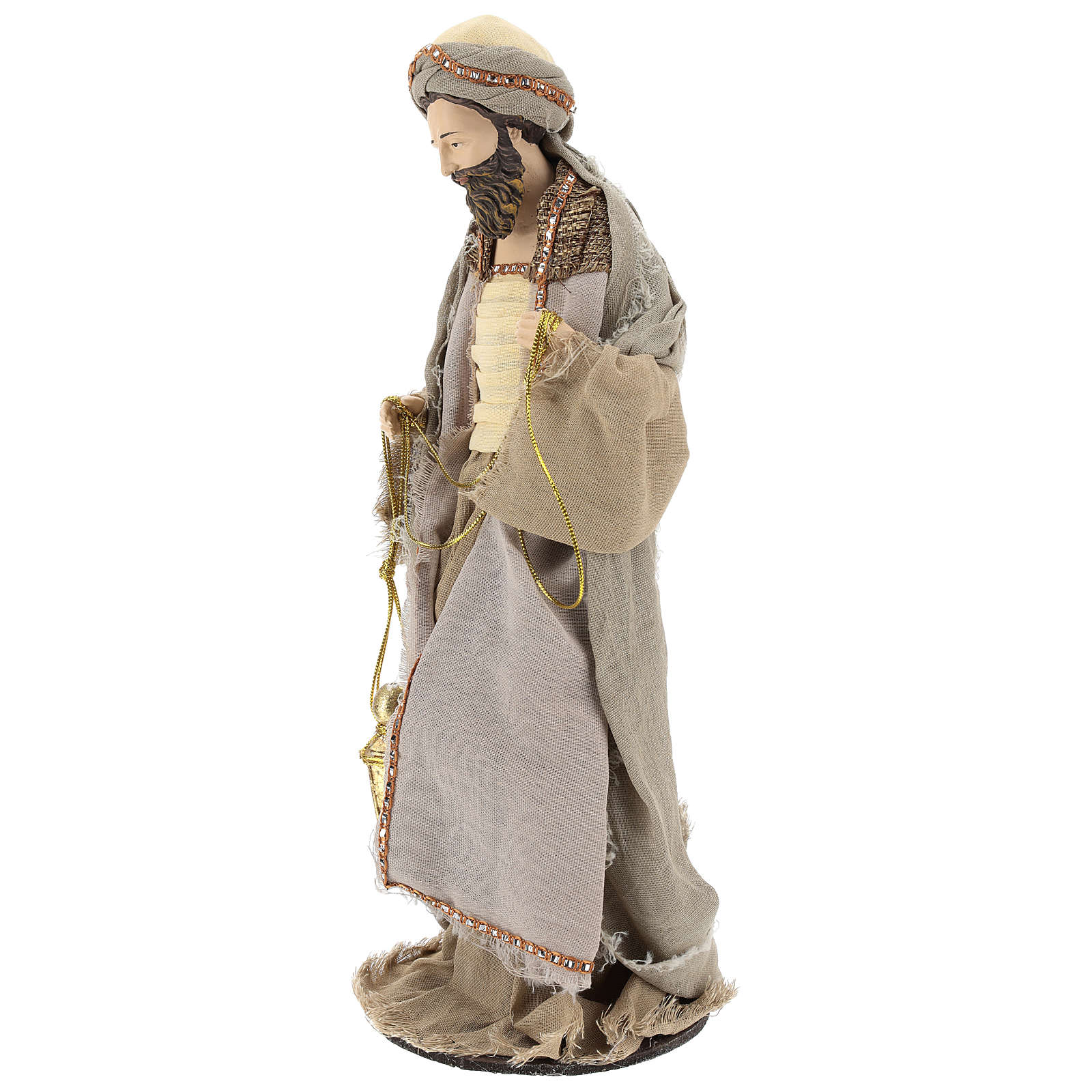 Three Wise Men 40 cm Shabby Chic style in resin and tempera with clothes made of beige gauze 3
