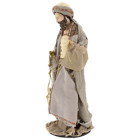 Three Wise Men 40 cm Shabby Chic style in resin and tempera with clothes made of beige gauze s4