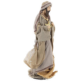 Three Wise Men 40 cm Shabby Chic style in resin and tempera with clothes made of beige gauze s5