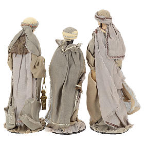Three Wise Men 40 cm Shabby Chic style in resin and tempera with clothes made of beige gauze s6