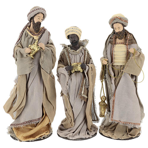 Three Wise Men 40 cm Shabby Chic style in resin and tempera with clothes made of beige gauze 1