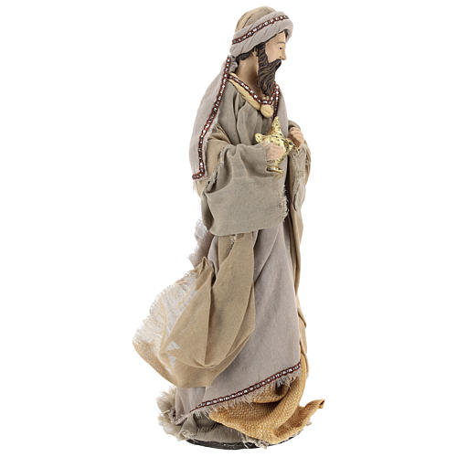 Three Wise Men 40 cm Shabby Chic style in resin and tempera with clothes made of beige gauze 5