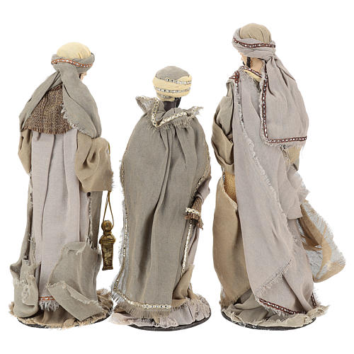 Three Wise Men 40 cm Shabby Chic style in resin and tempera with clothes made of beige gauze 6