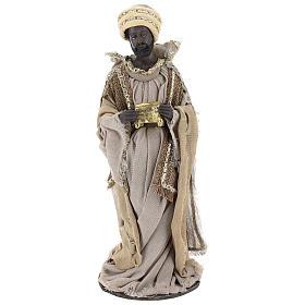 Reyes Magos 40 cm de resina con vestidos beises s3
