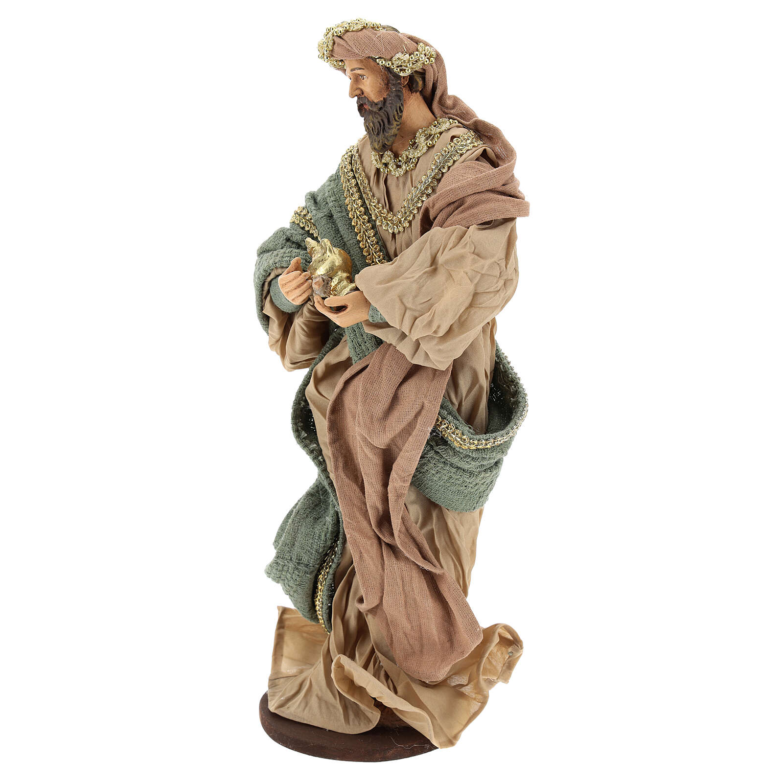 Three Wise Men in terracotta and fabric with golden details 30 cm 3