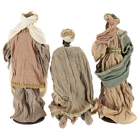 Three Wise Men in terracotta and fabric with golden details 30 cm s6