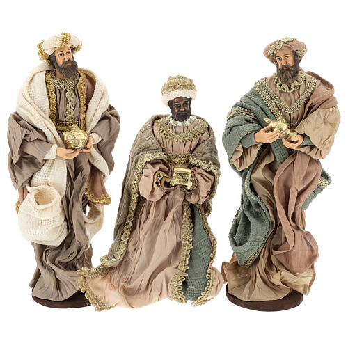 Three Wise Men in terracotta and fabric with golden details 30 cm 1