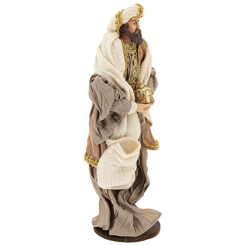 Three Wise Men in terracotta and fabric with golden details 30 cm 5