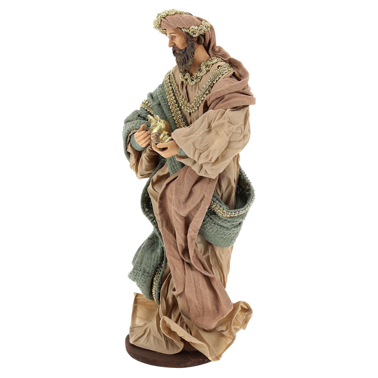 Reyes Magos 40 cm de terracota y tejido detalles oro 3