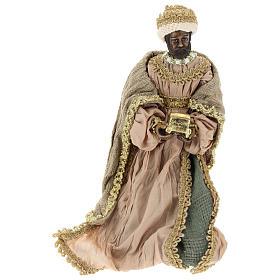 Reyes Magos 40 cm de terracota y tejido detalles oro s3