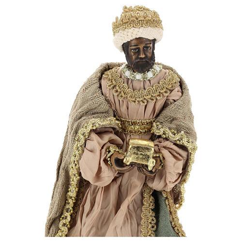 Reyes Magos 40 cm de terracota y tejido detalles oro 2