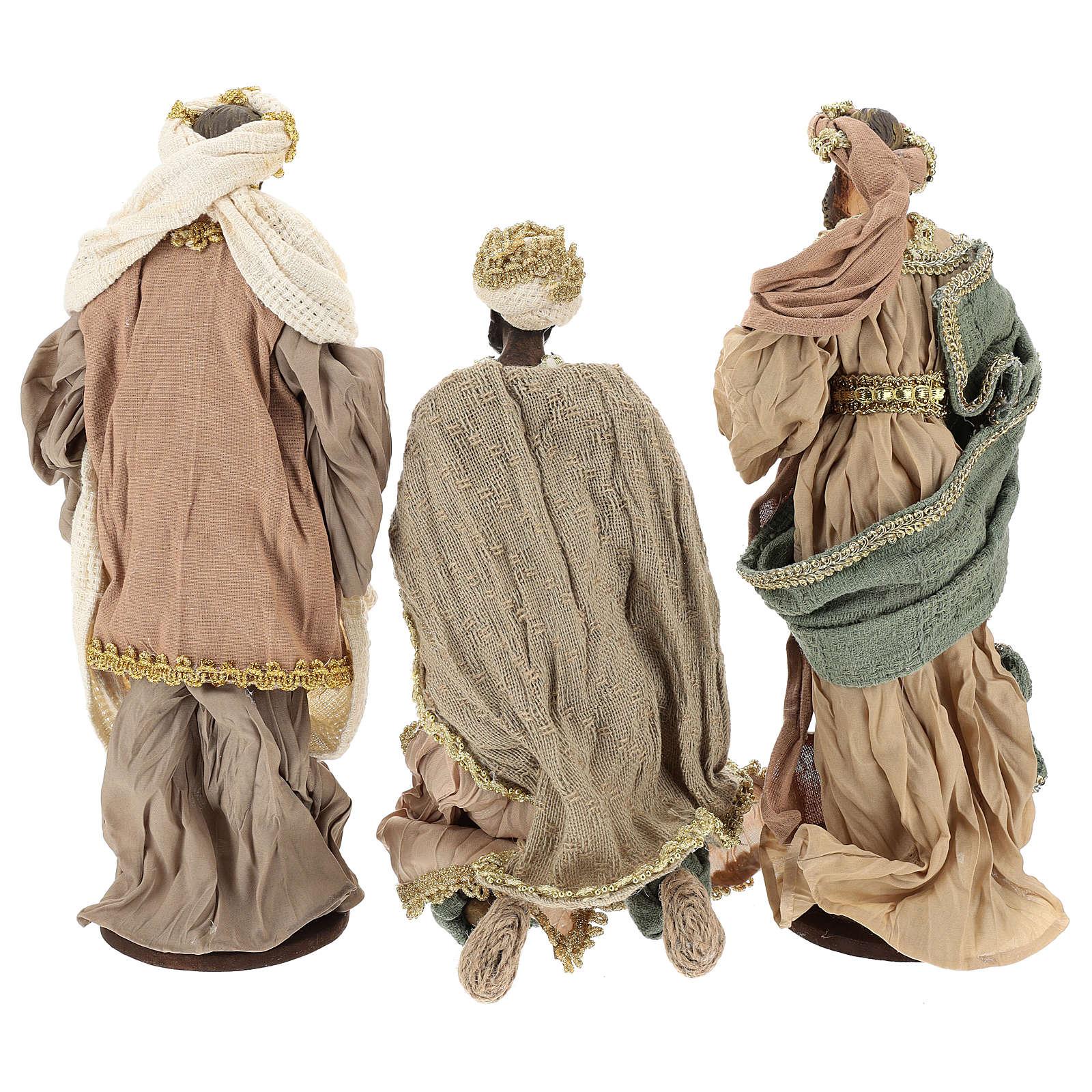 Rois Mages 30 cm en terre cuite et tissu détails or 3