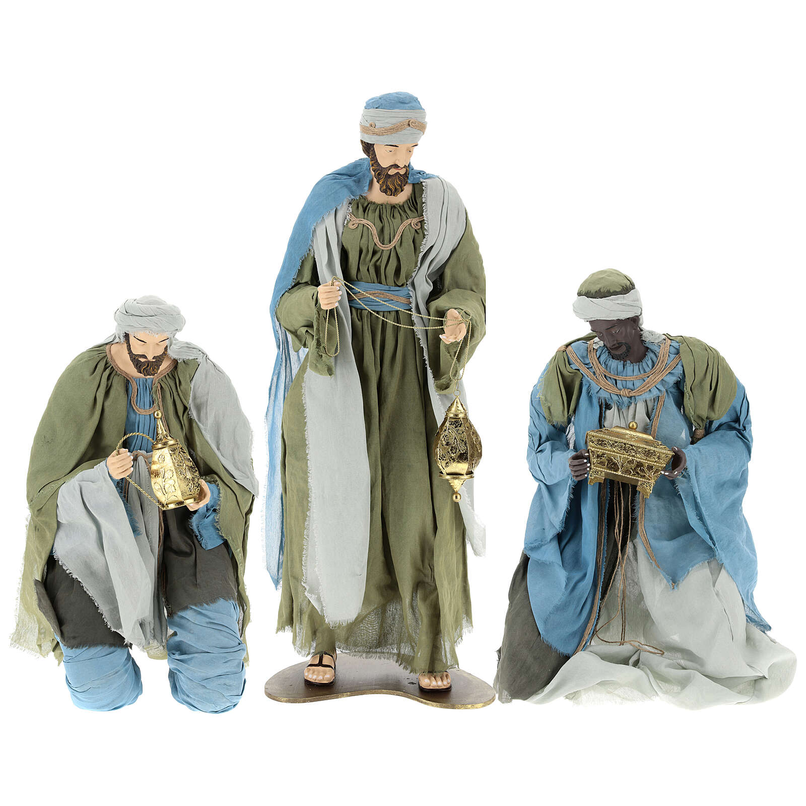 Nativity scene Magi 120 cm, in resin and fabric, with green and grey clothing 3
