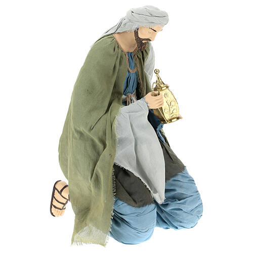 Nativity scene Magi 120 cm, in resin and fabric, with green and grey clothing 4
