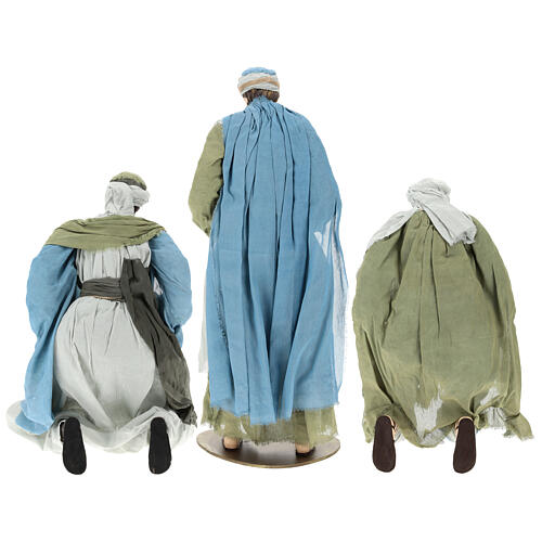 Nativity scene Magi 120 cm, in resin and fabric, with green and grey clothing 5