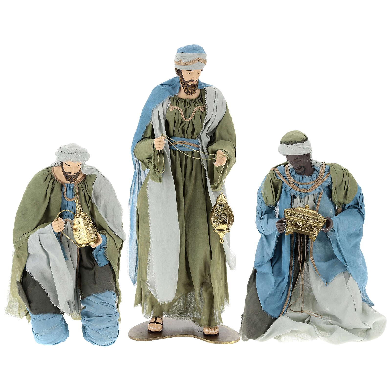 Reyes Magos 120 cm de resina con tejido verde y gris 3