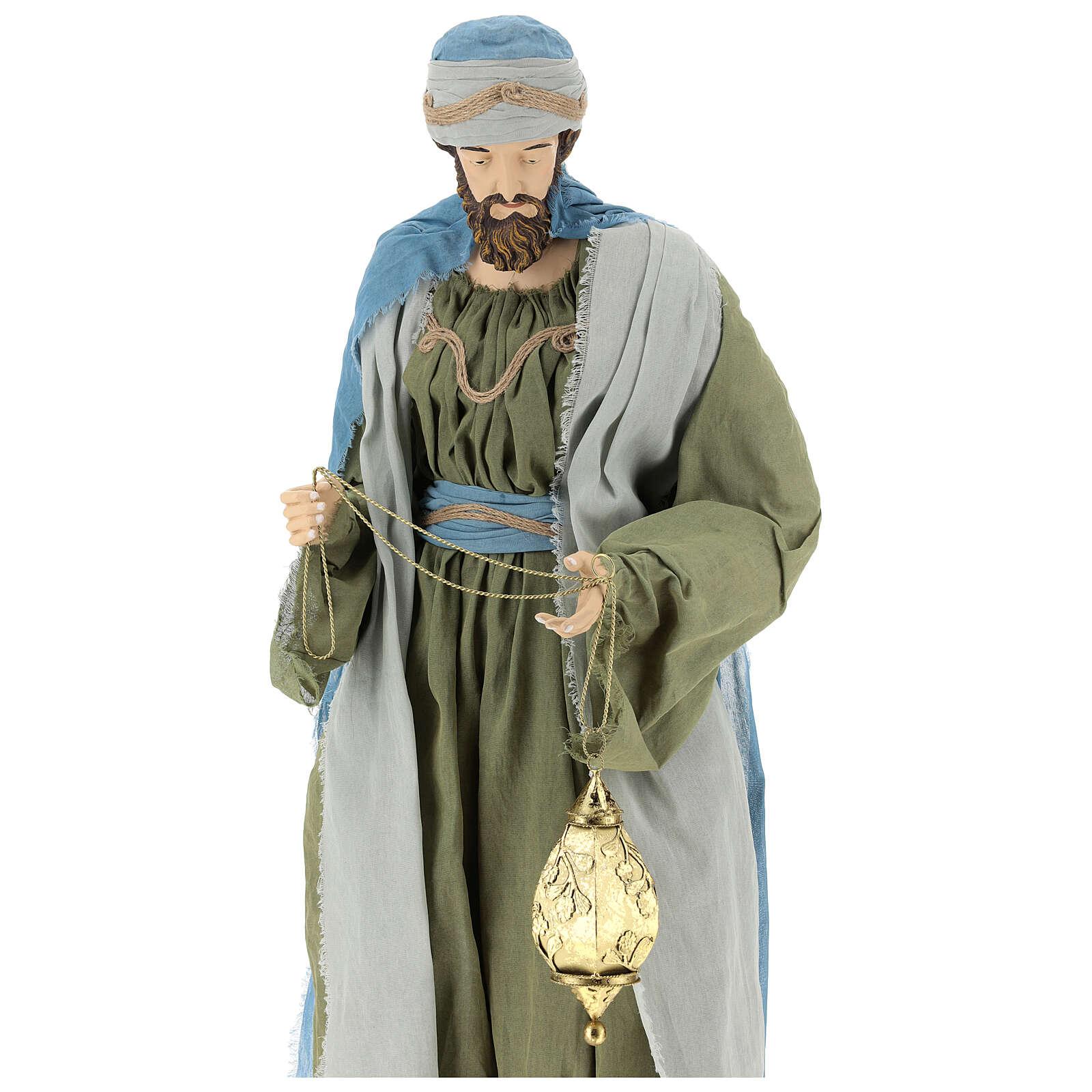 Reis Magos resina tela verde e gris presépio altura média 120 cm 3