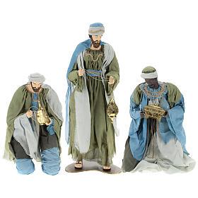 Reis Magos resina tela verde e gris presépio altura média 120 cm s1
