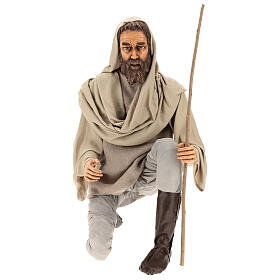 Shepherd 170 cm Life size kneeling in resin and cloth s1
